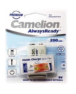 Pin sạc 9V Camelion NH-9V200ARBP1 AlwaysReady |200mAh-9V| (25.5mmx16.5mmx47.5mm)
