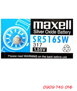 Pin Maxell SR516SW-317 silver oxide 1.55v Made in Japan
